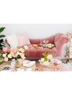 Betsy Velvet Chaise Lounge, Rose