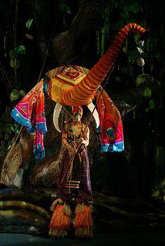 Elephants on stage - large elephant puppet
