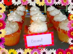 Coconut Cupcakes with Marshmallow Frosting #coconut