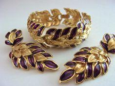 Burgundy Guilloche TRIFARI Bracelet & Earrings by RenaissanceFair