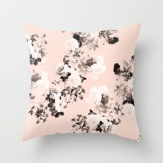 Modern girly elegant blush pink white floral pattern by Girly Trend. Throw Pillow made from 100% spun polyester poplin fabric, a stylish statement that will liven up any room. Individually cut and sewn by hand, each pillow features a double-sided print and is finished with a concealed zipper for ease of care.  Sold with or without faux down pillow insert.