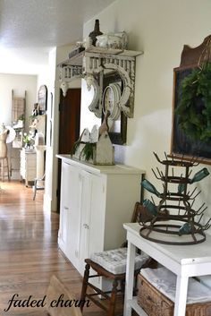shelf made using reclaimed corbels and old lumber
