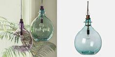 10 Ideas para Reciclar Damajuanas Glass Bottles, Glass Vase, Master Bath, New Homes, Ceiling Lights, Rustic, Lighting, Pendant, Handmade