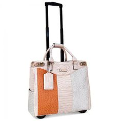 """Cabrelli 15.6"""" Women's Rolling Laptop Bag - Square Mix & Match Rollerbrief"""