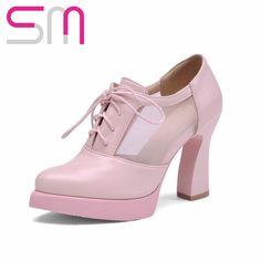 Size 34-39 2016 Sexy Lace-Up Mesh Women Pumps Hoof HIgh Heels Round Toe Platform Shoes Women Summer Fashion Shoes Woman Casual alishoppbrasil