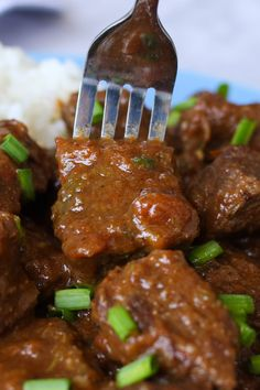 Closeup of carne de res guisada with a fork picking up a piece off a plate Stew Meat Recipes, Casserole Recipes, Mexican Food Recipes, Carne Guisada Recipe Mexican, Mexican Stew, Food Hacks, Food Tips, Food Ideas, Crock Pot Potatoes
