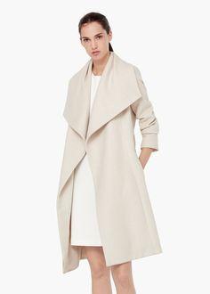 Abrigo lana solapas - Abrigos de Mujer | MANGO 120€