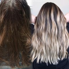 Before and after blonde balayage / color correction: blonde highlights/ brown hair color ideas/ blonde highlights on dark hair