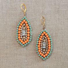 Rhinestone Marquis Drop Earrings Tutorial - jamie b. Diy Earrings Cuff, Seed Bead Earrings, Rhinestone Earrings, Drop Earrings, Statement Earrings, Gold Earrings, Diy Jewelry Tutorials, Free Tutorials, Craft Tutorials
