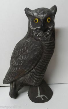 """Don'T Be Scared Vintage Paper Mache 14"""" Tall Spooky Halloween Owl 