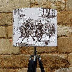 The Chase Horse & Hound Sepia Toile Drum Light Shade sophisticatedly stylish www.serendipityhomeinteriors.com