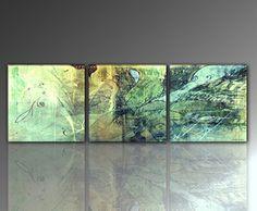 """Young schwinn design décoration murale en métal """"3 photos de 50 x 150 cm (unio-ensemble - 50 x 50 cm-paUL sINUS art abstrait vert xxl &sur toile avec châssis au tableaux médiators-art moderne de haute qualité, motif photo bild. favorable, moderne et élégant-fabriqué en allemagne"""