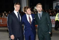 """Max Irons, Sam Claflin and Douglas Booth arrive at the premiere of """"The Riot Club"""" on day three of the Toronto International Film Festival in Toronto on Sept. 6, 2014."""