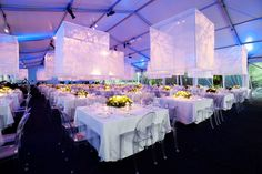 "Harris Theater Gala by Bill Heffernan ""We designed sheer white fabric cubes floating low over each table. This produced both an impressive v. Reception Decorations, Event Decor, Event Ideas, Theme Ideas, Decor Ideas, Galas Photo, Ceiling Installation, Gala Dinner, Event Lighting"