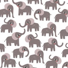 Mini elephant: children pattern, print by Laurence Lavallée aka Flo
