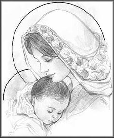 mary and baby jesus sketch Blessed Mother Mary, Blessed Virgin Mary, Jesus Mother, Catholic Art, Religious Art, Art Des Gens, Jesus Sketch, Drawing Sketches, Art Drawings