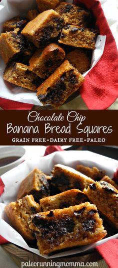 Chocolate Chip Banana Bread Squares #grainfree #dairyfree #paleo @paleorunmomma