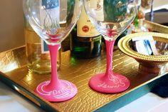 5 Wedding Favor Ideas for a Safe & Healthy Celebration | chalk base wine glasses so you never lose your drink at a wedding Chalk Labels, Chalkboard Labels, Colored Chalkboard Paint, Chalk Paint, Chalkboard Party, Wedding Party Favors, Paint Cans, Diy Projects, Wine