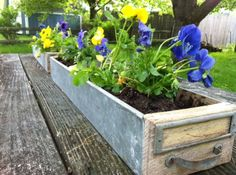 Recycled DIY Card Catalog Drawer Garden Planter