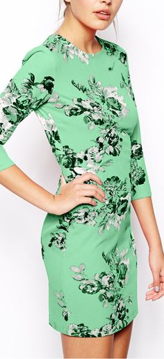 Love the color of this dress...and of course I love floral prints!