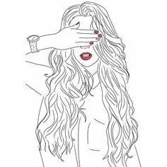 Lady Wearing Red. We Heart It ❤ liked on Polyvore featuring fillers, doodles, drawings and outline