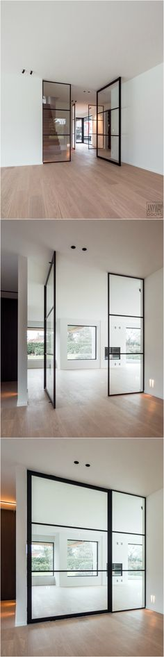 Glass pivot door with black anodized aluminium and invisible 'Stealth Pivot' pivot hinges Big Doors, Pivot Doors, Small Doors, Windows And Doors, Sliding Doors, Garage Doors, Round Door, Modern Door, Design Awards