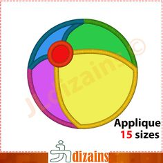 Beach Ball applique. Machine embroidery design - INSTANT DOWNLOAD - 15 sizes by JLdizains on Etsy