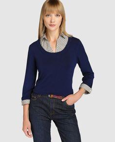 Jersey azul de mujer Lloyd's con efecto camisa interior