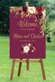 Welcome Wedding Sign Template / Editable / Three Sizes - Fall Floral - Gold / Blush / Burgundy / Marsala / Wine Rustic Maroon Wedding, Burgundy Wedding, Floral Wedding, Fall Wedding, Rustic Wedding, Dream Wedding, Wedding Stage, Wedding Themes, Wedding Signs