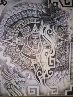 Tattoo Lettering Alphabet, Graffiti Lettering Fonts, Graffiti Art, Mayan Tattoos, Mexican Art Tattoos, Chicano Art Tattoos, Chicano Drawings, Quetzalcoatl Tattoo, Aztec Tattoos Sleeve