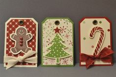 Boy, do I wish Stampin' Up still sold the grommets. They are so attractive in some designs. Holiday Gift Tags, Christmas Gift Wrapping, Holiday Cards, Christmas Paper, Handmade Christmas, Christmas Crafts, Christmas Trees, Christmas Stockings, Handmade Gift Tags