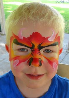 One stroke dragon-Princess and Pirates Face Painting Spider Face Painting, Dinosaur Face Painting, Monster Face Painting, Dragon Face Painting, Face Painting Tips, Face Painting For Boys, Face Painting Designs, Body Painting, Pirate Face Paintings