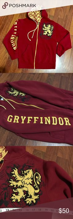 Harry Potter Gryffindor Crest Hoodie What house do you belong to? Xmas present for my daughter purchased by a friend who visited The Wizarding World of Harry Potter opening month. They only sold these at the Park. I scored big points that year! Super rare (try searching for it). Worn and well-cared for (and well-loved ). Hood lined with Gryffindor pattern; crest is a raised patch. One small pinhole shown at end of orange pen. Some paint worn off on zipper. Officially licensed by Universal…