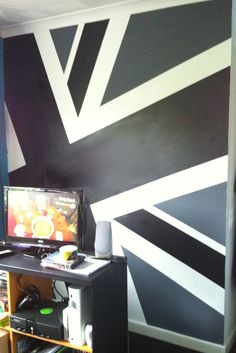 Black And Grey Union Jack Wall Mural Amazing Design
