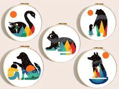 Geometric animal silhouette cross stitch pattern modern, counted cross stitch chart, easy cross stitch, cat, dog, wolf, swan, bear, pdf diy