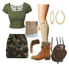 """""""GI Jane"""" by quoise on Polyvore featuring LE3NO, Bedroom Athletics, Charlotte Russe, Yves Saint Laurent, Fragments and Louis Vuitton"""