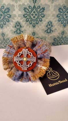 Celtic Harris Tweed brooch, Harris Tweed corsage, Celtic jewellery, Celtic cross brooch, Outlander Inspired, celtic scarf pin, gifts for her by BrawBrichtJewellery on Etsy