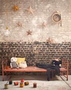Ooh la, la… this shop, LES PETITS BOHEMES, is French and fabulous! Filled with gorgeous vintage finds but also some very . Brick In The Wall, Brick And Stone, Brick Walls, Baby Decor, Kids Decor, Decor Ideas, Interior Decorating, Interior Design, Banquette