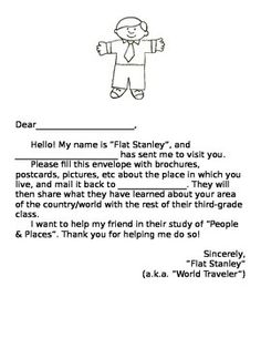 Flat Stanley Introduction Letter