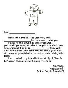 Flat Stanley Letter For Students Of All Ages Teacherspayteachers