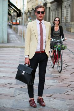 For the Gents: Prada Saffiano briefcase, vintage jacket and shirt, Gordon double monk by 59Bons Street, Spitfire shades