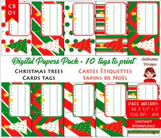 10 Digital Tags x Printable for Christmas tags, red, green and white, holidays, Christmas trees Christmas Tag, Christmas Trees, Diy Paper, Paper Crafts, Scrapbooking, Diy Supplies, Digital Papers, Etiquette, Red Green