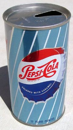 "Cool old Pepsi-Cola can. Interesting that it says ""colored with caramel."" It may have something to do with Pepsi-Co's patent of a caramel coloring additive but I'm not sure. Vintage Coca Cola, Vintage Advertisements, Vintage Ads, Clock Vintage, Cola Drinks, Pop Cans, Vintage Packaging, Soda Bottles, Ginger Ale"