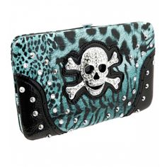 Handbags, Bling & More! Blue Leopard Print Skull Rhinestone Wallet : Western Style Cross Wallets