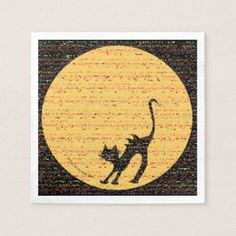 Arching Black Cat and Full Moon Halloween Party Paper Napkin - Halloween happyhalloween festival party holiday