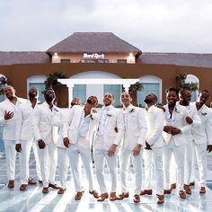 We see you 👑👑👑 kings shining ✨✨✨⠀ ! by Wedding KLoset Ltd White Tuxedo Wedding, Wedding Tux, All White Wedding, Dream Wedding, Purple Wedding, Wedding Attire, Wedding Bells, Wedding Ceremony, Groom And Groomsmen Attire