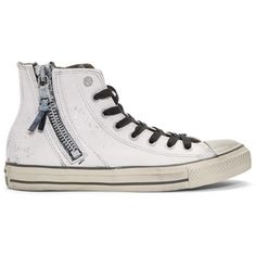 Converse by John Varvatos White Chuck Taylor All Star Zip High-Top... ($145) ❤ liked on Polyvore featuring men's fashion, men's shoes, men's sneakers, white, mens zipper shoes, mens high top shoes, mens rubber shoes, mens white sneakers and mens white high top shoes