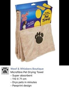 Dog or Cat Towel: comfy microfibre pet towel from Woof & Whiskers Boutique