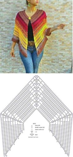 Crochet Bolero, Crochet Shawl Diagram, Pull Crochet, Mode Crochet, Crochet Poncho Patterns, Crochet Shawls And Wraps, Crochet Blouse, Crochet Scarves, Crochet Motif