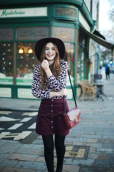 6c848b26be528 Seventies Urban Outfitters Outfit What Olivia Did Burgundy Skirt Outfit